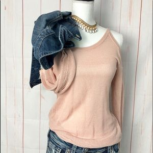 Laundry Cold Shoulder Blush Loose Knit Top NWT